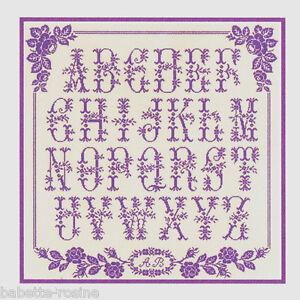 Grille point de croix ab c daire aux roses anciennes - Abecedaire point de croix grilles gratuites ...