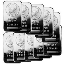 ON SALE! 5 oz Sunshine Silver Bar (New, MintMark SI, Lot of 10)