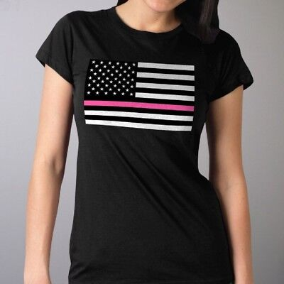 LADIES Thin PINK Line USA Flag T-Shirt Womens Breast Cancer Awareness Support Breast Cancer Awareness Line