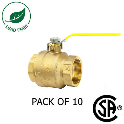 New 2 Ips Full Port Brass Ball Valve Csa Approved 600 Wog Lead Free Pack Of 10