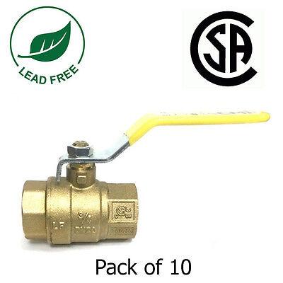 34 Ips Full Port Brass Ball Valve Csa Approved 600 Wog Lf Threaded- Pack Of 10