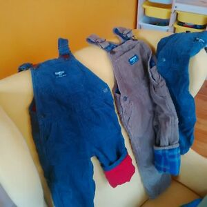 3 corduroy OshKosh overalls, flannel-lined, 9mos, 12mos, 24mos