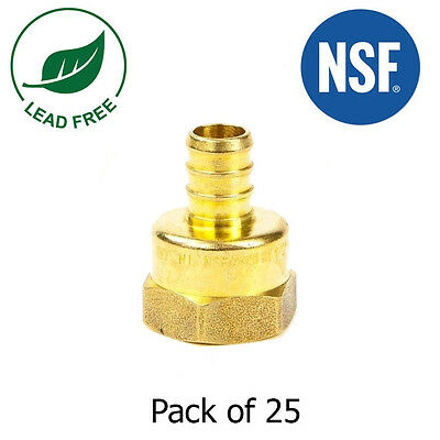 34 Pex X 34 Female Npt Threaded Adapters Brass Crimp Fitting Lead Free 25pcs
