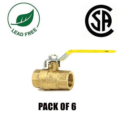12 Ips Full Port Brass Ball Valve Csa Approved 600 Wog Lead Free- 6 Packs