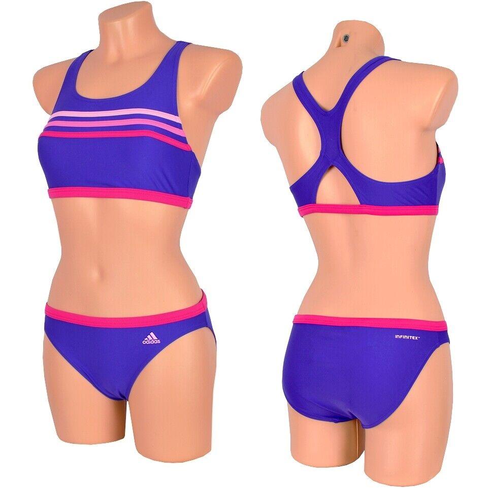 Adidas INFINITEX™ 3S Mädchen Bikini Bustier Badeanzug Crop Swim Suit lila/pink