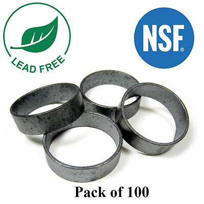 100 12 Pex Copper Crimp Rings Black Oxidized Surface Lead Free Crimping