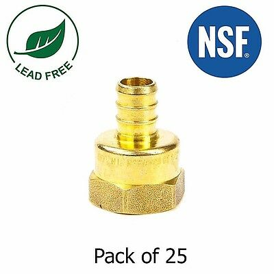 12 Pex X 12 Female Npt Threaded Adapters Brass Crimp Fitting Lead Free 25pcs