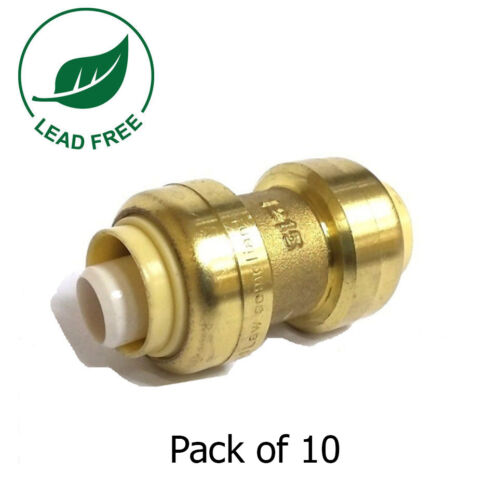 """10 PIECES 1/2"""" SHARKBITE STYLE PUSH FIT COUPLINGS FITTINGS LEAD FREE"""