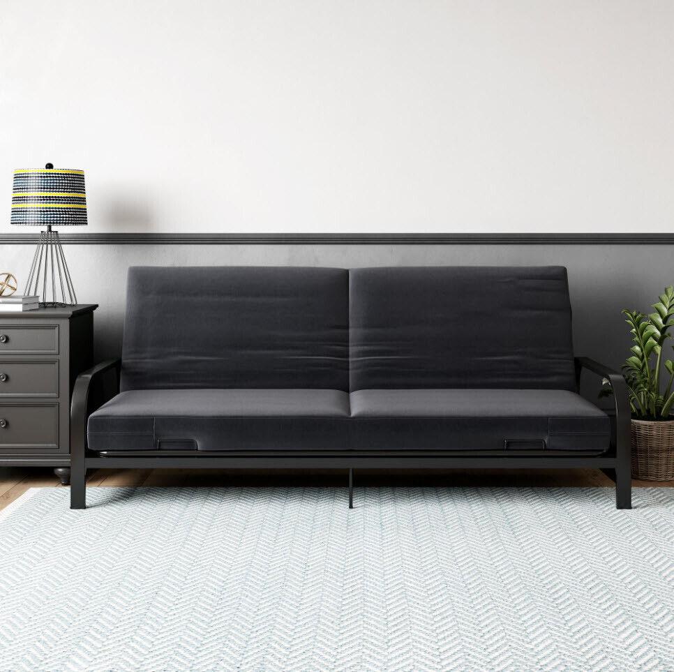 SOFA BED SLEEPER Black Futon Mattress Metal Frame Convertible Couch