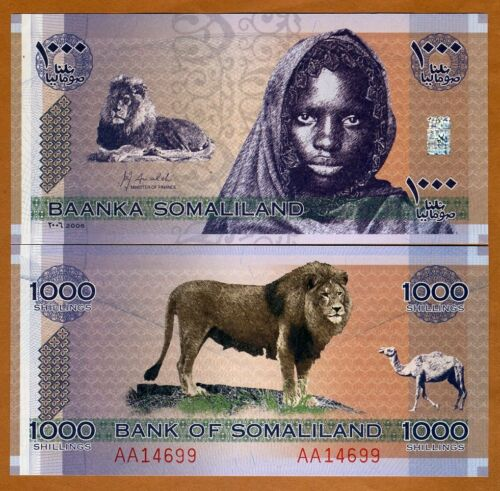 Somaliland, 1000 shillings, 2006, P-CS1, UNC > Lion, Girl