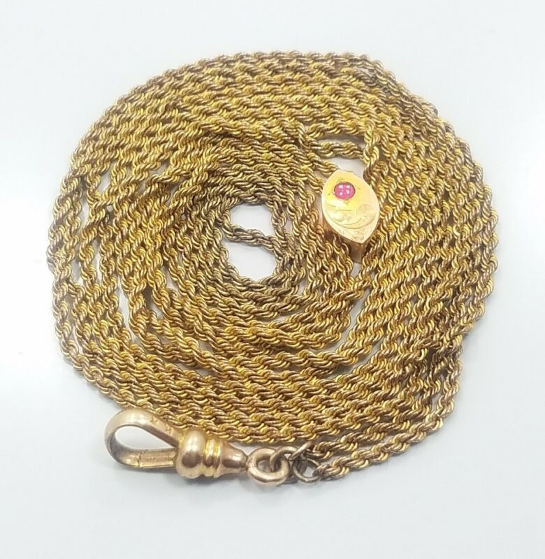 Antique Victorian Yellow Gold Filled Long Pocket Watch Chain Slide