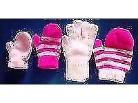 Job Lot of 4 Pairs of Assorted Baby Child's Unisex Boy Girl's Knit Mittens.