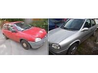 Two 1996 P reg 1.2cc Vauxhall corsa 's for spares or repairs autograss banger stock oval racing.
