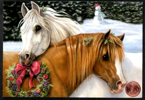 Christmas Horses Snuggling Snowman Wreath Apples -  Christmas Greeting Card NEW