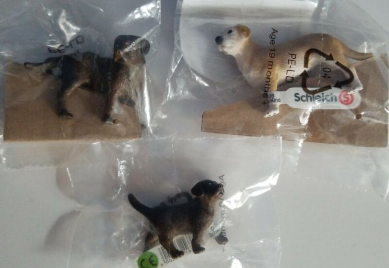 New RETIRED Schleich Dogs, SMALL LAB Female, Male & Puppy, #16387 16386 & 16388