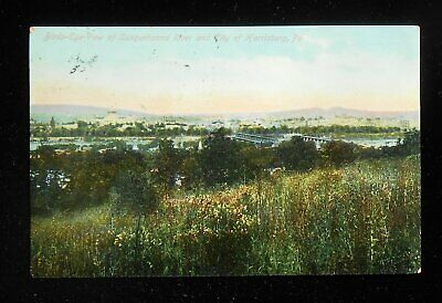 1909 Birdseye View of Susquehanna River and City of Harrisburg PA Dauphin Co PC
