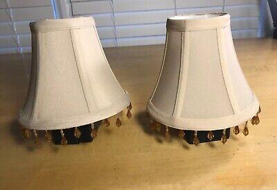 Fringe Mini Lamp - Pair (2) of Cream Mini Lamp Shades Softback with Beaded Fringe 5