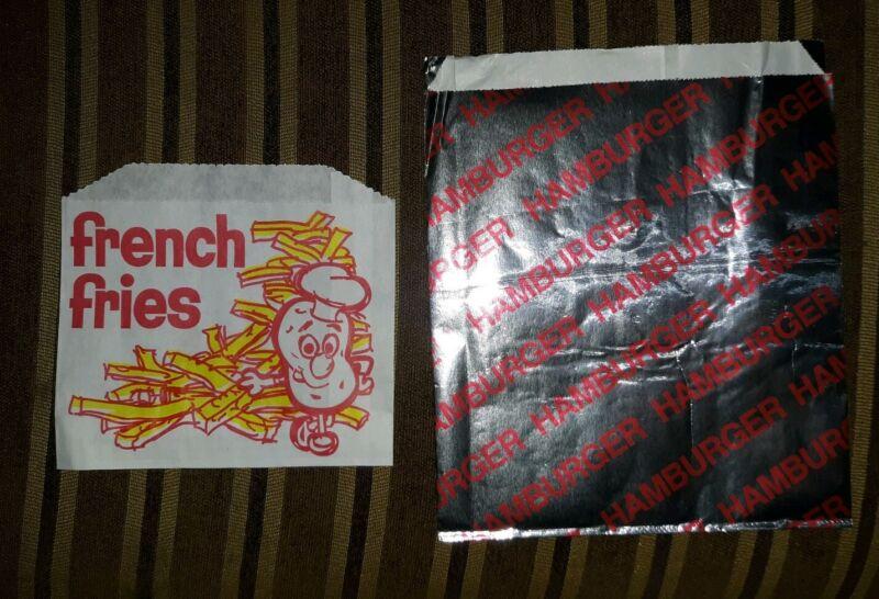 200 BAGS Carnival King ,Hamburger and medium French Fry bags 100 OF EACH BAG