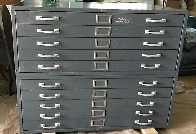 Vintage Cole 10-drawer Metal File Cabinet Officeplansmapsstorageblue Prints