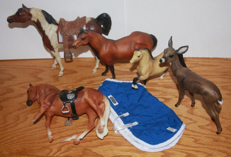 4 Breyer Plastic Horses (1 Deer) 2 Saddles (1 Blanket) Classic Paddock Pals