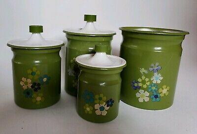 Tin Cookie Jar - Vintage Canister Container Cookie Jar Set Green Floral Flowers Tin Metal  Qty 4