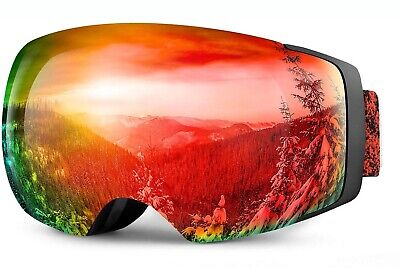 $89 OTG Over The Glasses Black & Red Ski Goggles With Magnetic Swap Mirror Lens