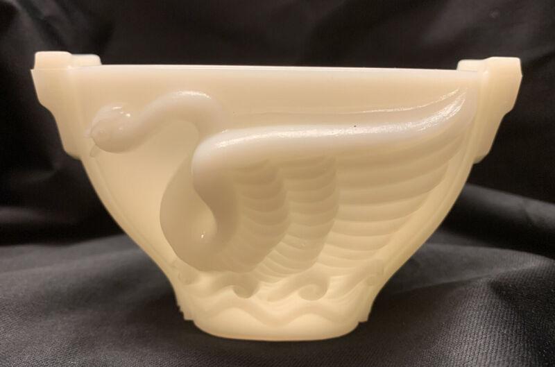 Vintage MacBeth Evans Milk Glass Swan Vase Bowl 1930s Art Deco