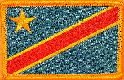 Democratic Republic of the Congo Flag Iron-On Military Patch Gold Border #05