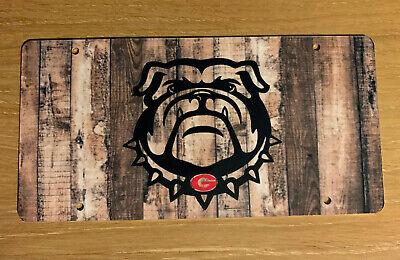 Georgia Bulldogs License Plate Metal Wood Background G Tag UGA Georgia Bulldogs Metal