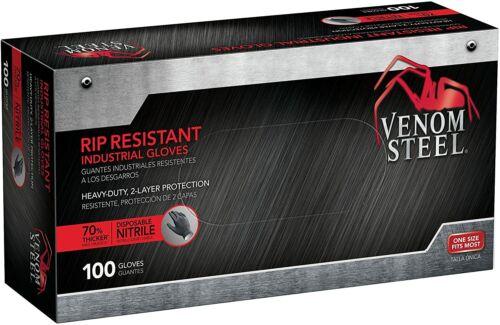 Venom Steel Heavy-Duty Rip Resistant 2 Layer Nitrile Gloves - Black (100 Gloves)