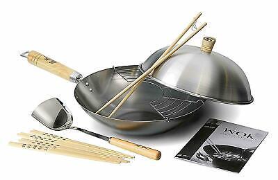Ken Hom Classic 31cm Carbon Steel Induction Stir Fry Wok Pan   10 Pce Set, Large
