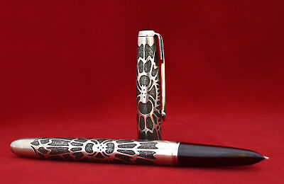 "Parker 51 Aerometric Customized ""Spider"" Fountain Pen in Silver (R.#CM)"