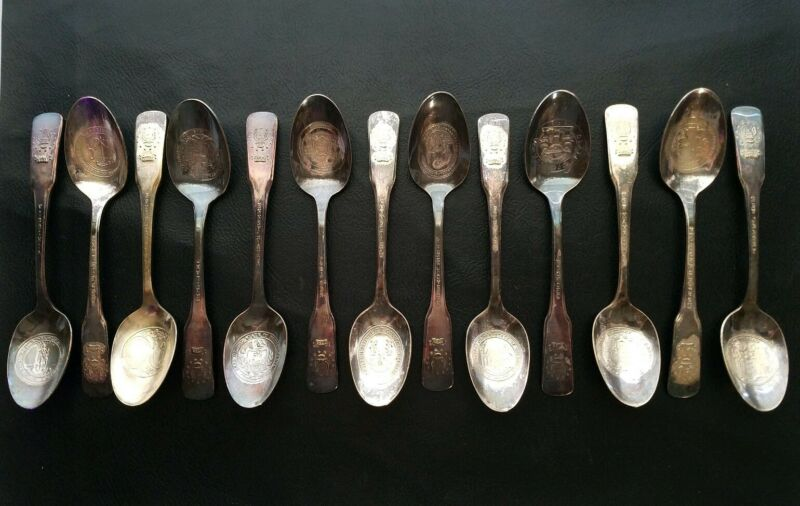 International Silver Bicentennial 13 Original Colonies Silver Plate Spoon Set