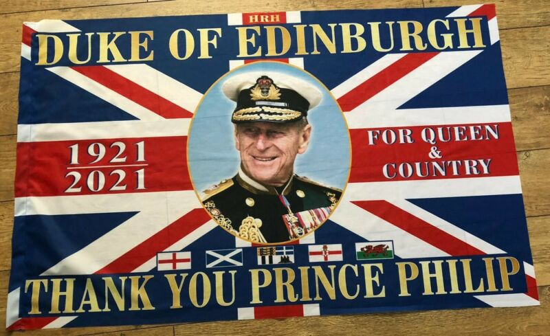 Giant Prince Philip Duke of Edinburgh RIP Union Tribute Flag (5ft x 3ft)