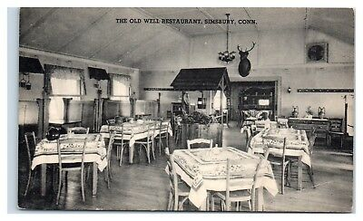 The Old Well Restaurant Interior  Simsbury  Ct Postcard