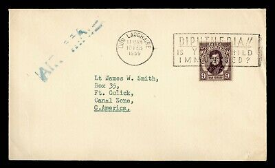 DR WHO 1959 IRELAND DUN LAOGHAIRE SLOGAN CANCEL AIRMAIL TO CANAL ZONE  g19740