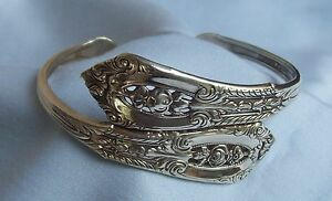 WALLACE ROSEPOINT STERLING SILVER SPOON HANDLES MADE INTO FORK/SPOON  BRACELET