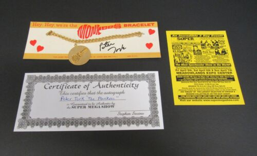 1967 Monkees Logo Bracelet  Peter Tork Hand Signed Autograph with C.O.A.