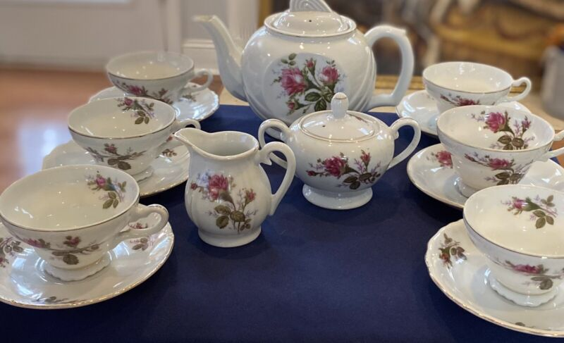 """1940s-50s HP Wales Porcelain, """"Moss Rose"""", Tea Service For Six, Made In Japan"""