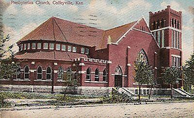 Presbyterian Church Coffeyville Ks Postcard 1909