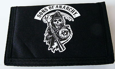 SONS OF ANARCHY WALLET VELCRO . GRIM REAPER .BIKER GOTHIC BRAND NEW SOA.ORIGINAL