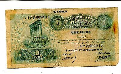 LEBANON 1 LIVRE 1939 FINE NR 19.95