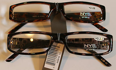 NYS Reading Glasses 2.50 Strength Gorgeous Designs Brown and Black (Nys Glasses)