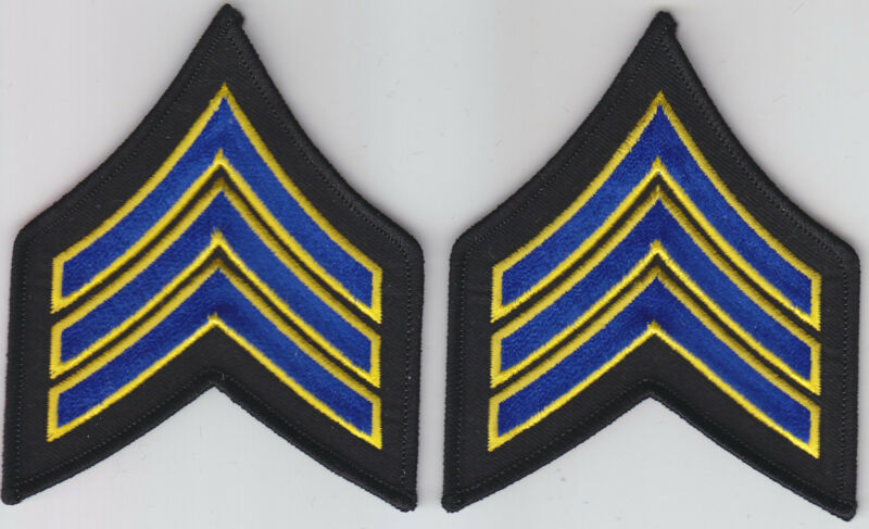 "SGT Sergeant Chevrons ROYAL BLUE & GOLD on BLACK 3 1/8"" X 3 5/8"" police i pair"