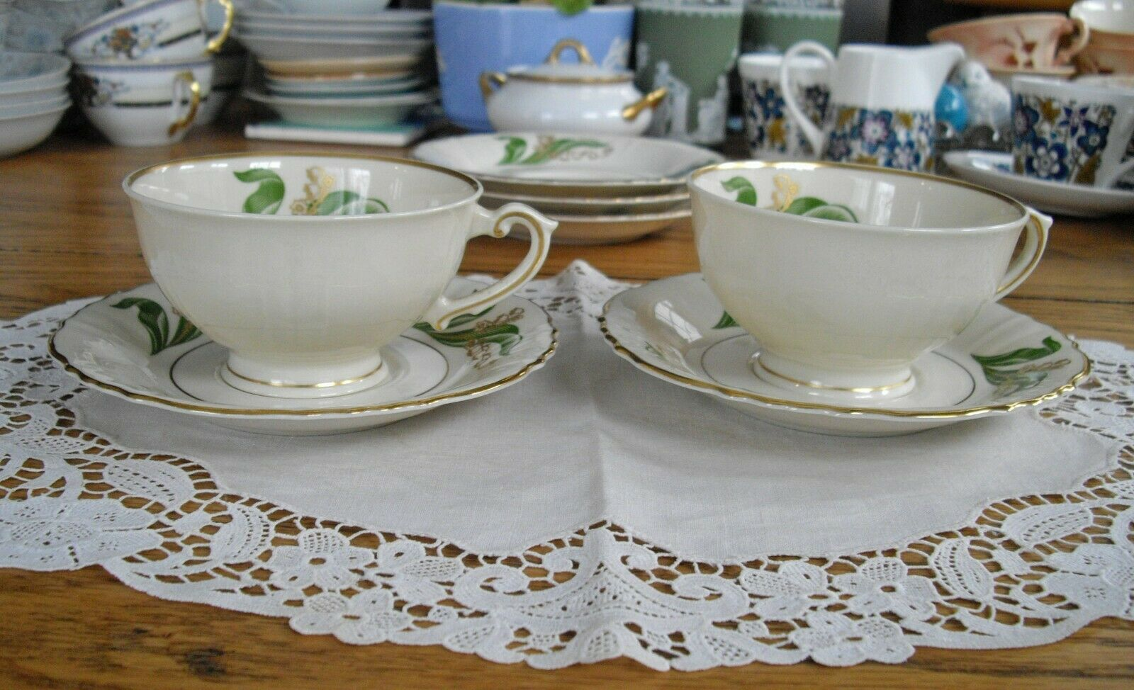 Vintage Syracuse China LILY OF THE VALLEY Teacups Saucers Set Of 2  - $12.99