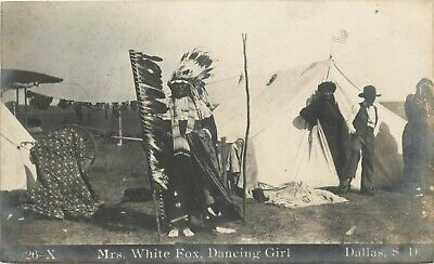 Mrs White Fox, Dancing Girl ~DALLAS - SOUTH DAKOTA~ Rare INDIAN RPPC, c. 1915