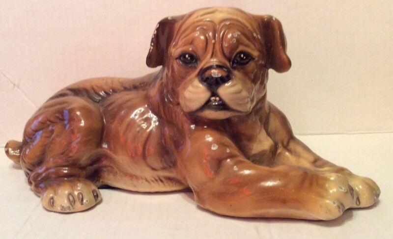 "Vintage Marwal Bulldog Sculpture 12"" x 6"" x 7"" Chalkware Boxer Dog"