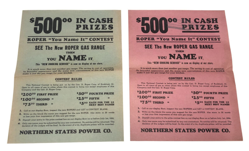 Vintage Northern States Power Co. Contest Flyer Posters 1930