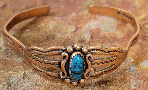 VTG Southwestern Turquoise Childs Bracelet Arrow Solid Copper Dolls Jewelry