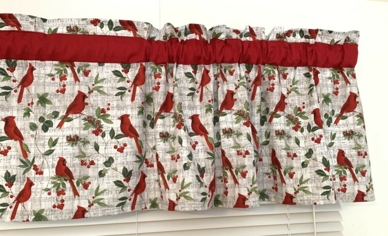 Christmas Red Cardinals Window Curtain Topper Valance Green Leaf Music Note Bird